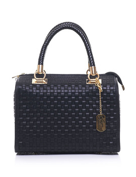 Textured Top Handle Handbag In Black by General