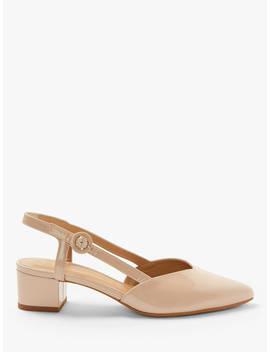 John Lewis & Partners Alyssa Slingback Block Heel Court Shoes, Nude Leather by John Lewis & Partners