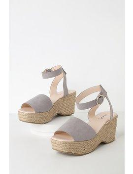 Elyse Light Grey Suede Platform Espadrille Sandals by Lulu's