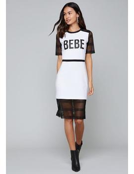 Mesh Block Midi Dress by Bebe