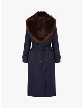 Four Seasons Faux Fur Collar Coat, Navy by Four Seasons