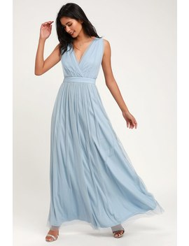 Romantic Moment Slate Blue Mesh Maxi Dress by Lulus
