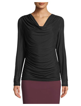 Front Drape Mesh Long Sleeve Tee by Neiman Marcus