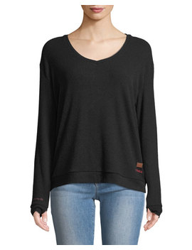 Catherine Ribbed Lace Back Sweater, Black by Peace Love World