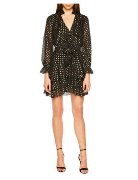 V Neck Long Sleeve Spotted Shirtdress W/ Ruffles by Bardot