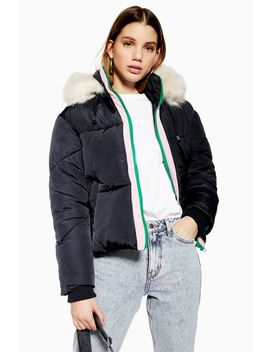 Faux Fur Hooded Puffer Jacket by Topshop