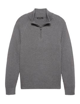 Heritage Cotton Half Zip Sweater by Banana Repbulic