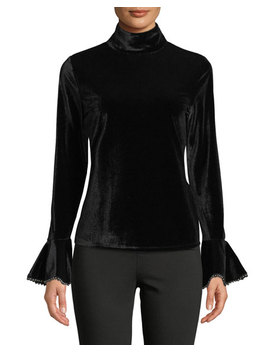 Mock Neck Bell Sleeve Blouse by Neiman Marcus