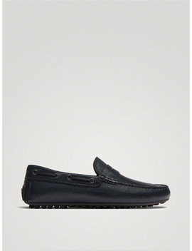 Blue Nappa Leather Loafers by Massimo Dutti