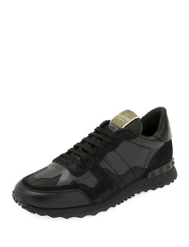Men's Rockrunner Camo Leather Sneakers, Black by Valentino Garavani