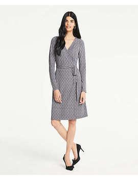 Herringbone Matte Jersey Wrap Dress by Ann Taylor