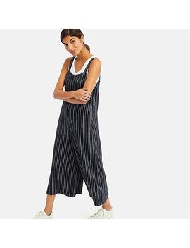 Women Linen Blend Striped Jumpsuit by Uniqlo