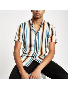 Ecru Stripe Slim Fit Satin Shirt by River Island