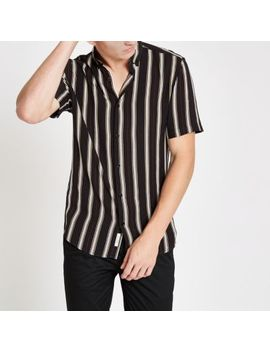 Black Stripe Slim Fit Short Sleeve Shirt by River Island