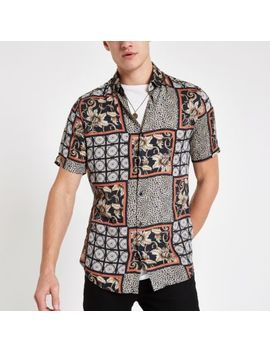 Black Mixed Tile And Animal Print Shirt by River Island