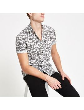 Grey Paisley Print Short Sleeve Shirt by River Island