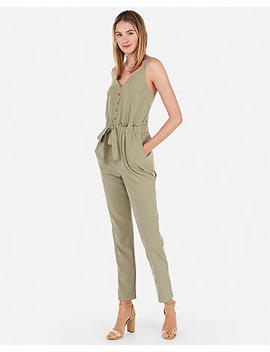 Sash Tie Waist Button Front Jumpsuit by Express