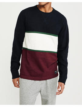Colorblock Crewneck Sweatshirt by Abercrombie & Fitch