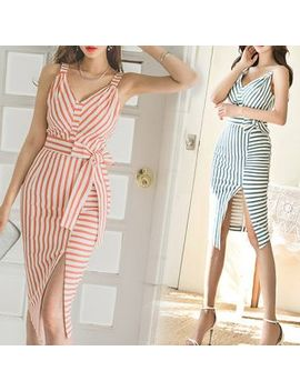 Yilda   Sleeveless Striped Sheath Dress by Yilda