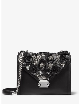 Whitney Large Floral Embellished Leather Convertible Shoulder Bag by Michael Michael Kors
