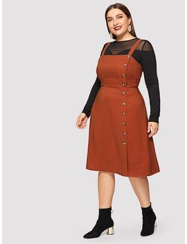 Plus Button Front Pinafore Dress by Shein