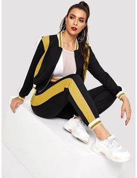 Color Block Baseball Jacket & Sweatpants Set by Shein
