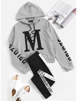 Drawstring Letter Hoodie & Sweat Pants Set by Shein