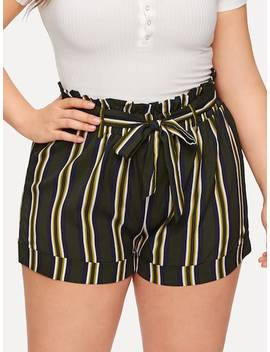 Plus Striped Self Tie Shorts by Sheinside