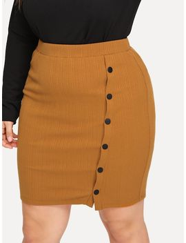 Plus Buttoned Rib Knit Bodycon Skirt by Shein