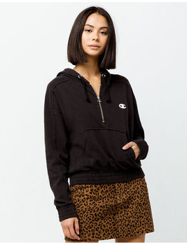 Champion Vintage Half Zip Black Womens Hoodie by Champion