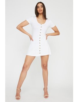 Button Ribbed Short Sleeve A Line Mini Dress by Urban Planet