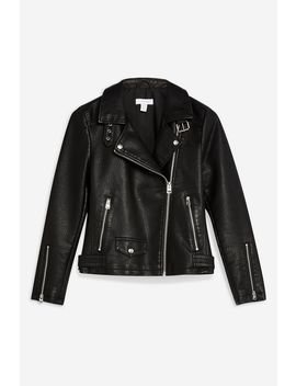 Tall Leather Look Biker Jacket by Topshop