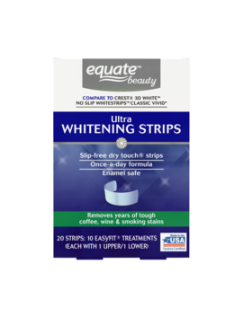 Equate Beauty Ultra Teeth Whitening Strips, 10 Treatments (Compare To Crest 3 D White No Slip Whitestrips Classic Vivid) by Equate Beauty