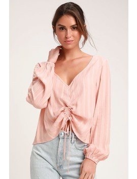 Del Rey Peach Ruched Long Sleeve Top by Lulus