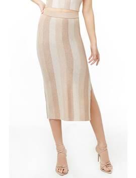 Striped Metallic Midi Skirt by Forever 21