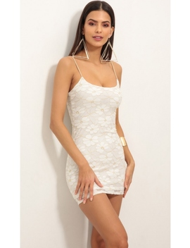 Gold Daisy Lace Bodycon Dress by Lucy In The Sky