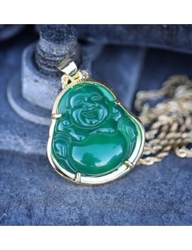 Mens Solid 14k Gold Green Jade Buddha Pendant Chain Necklace by Ebay Seller