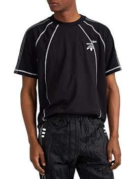 Logo Detailed Striped Tech Jersey T Shirt by Adidas Originals By Alexander Wang