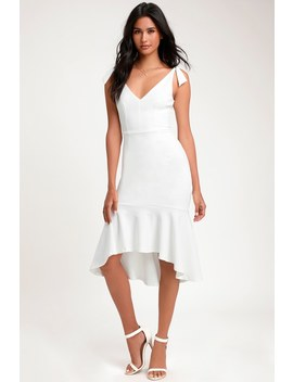 Want You To Want Me White Trumpet Hem Bodycon Midi Dress by Lulus
