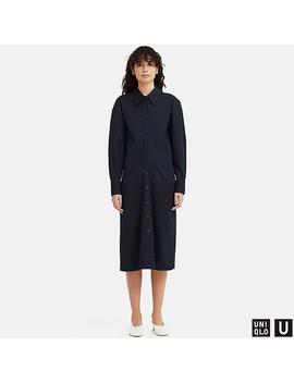 Women Uniqlo U Long Sleeved Shirt Dress by Uniqlo