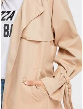 Skirted Double Breasted Soft Trench Coat   Khaki L by Zaful