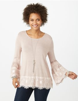 Lace Trim Bell Sleeve Top by Dressbarn