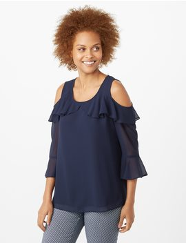 Ruffle Cold Shoulder Top by Dressbarn