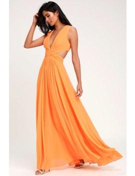 Vivid Imagination Bright Orange Cutout Maxi Dress by Lulus