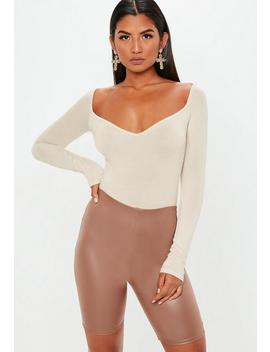 Sand Sweetheart Neck Bodysuit by Missguided