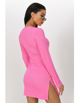 Ashlie Pink Side Slit Bodycon Dress by Tobi