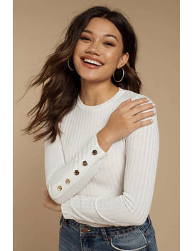 Lana White Knit Ribbed Long Sleeve Top by Tobi