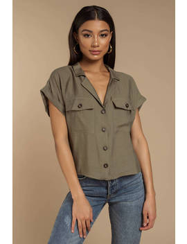 Indy Olive Linen Button Down Top by Tobi