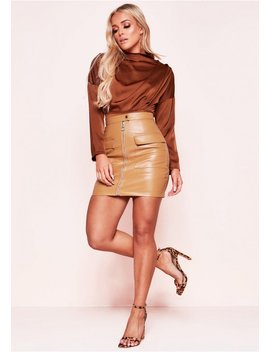 Tessa Tan Faux Leather Zip Mini Skirt by Missy Empire