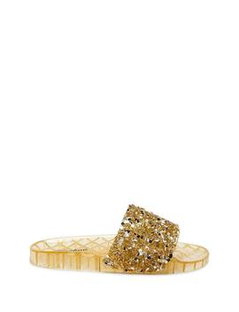 Faux Gem Embellished Jelly Slides by Forever 21